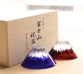 日本富士山杯田島硝子青紅富士祝盃正版蝦皮