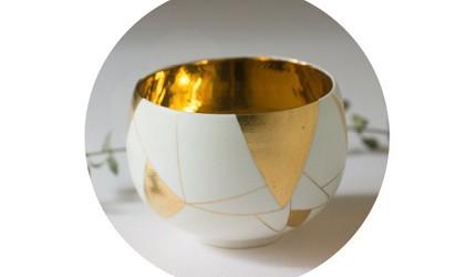 日本陶瓷餐具推薦推介SIONE質感弦月對杯夢幻精緻碗盤送禮首選結婚賀禮日系餐具陶瓷藝術的金彩茶碗的內部塗滿了一整片的金彩
