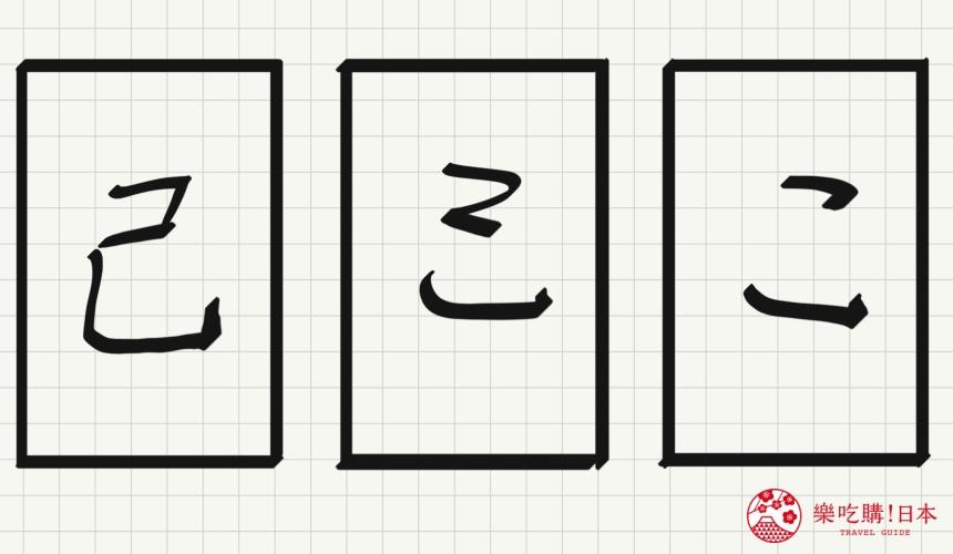 日语平假名「こ」源自於「己」的示意图
