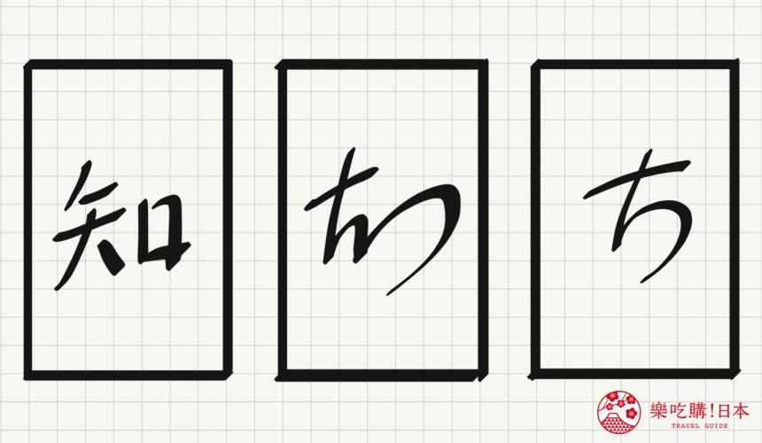 日语平假名「ち」源自於「知」的示意图