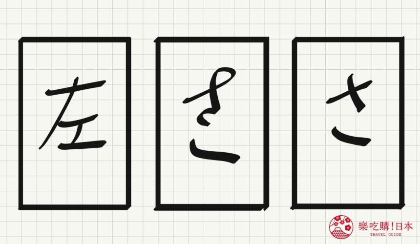 日语平假名「さ」源自於「左」的示意图