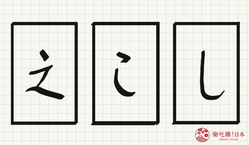 日语平假名「し」源自於「之」的示意图