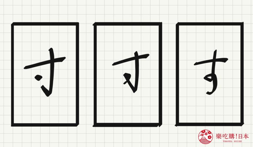 日语平假名「す」源自於「寸」的示意图