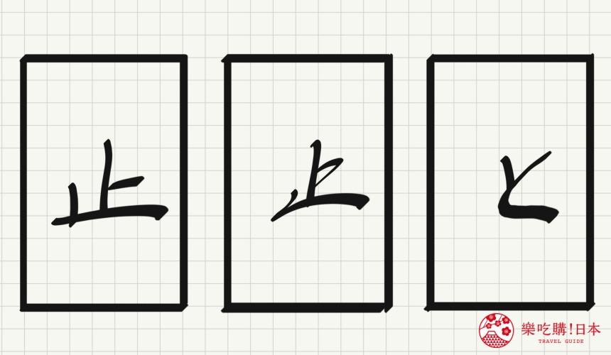 日语平假名「と」源自於「止」的示意图