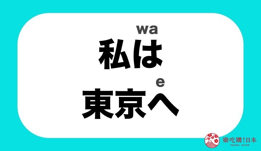 「は」「へ」當作助詞時,唸「wa」與「e」