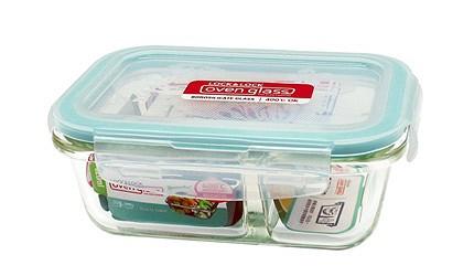 保鮮盒推薦樂扣樂扣耐熱玻璃分隔保鮮盒