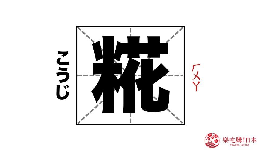 日文「糀」漢字讀音示意圖