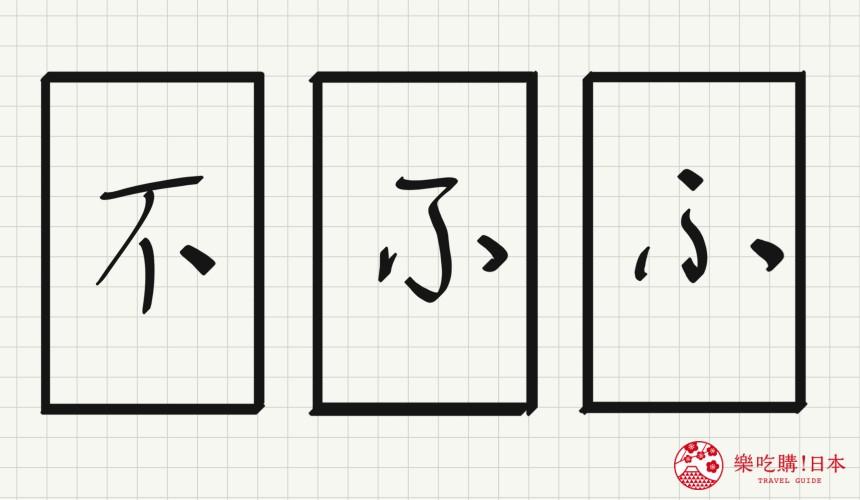 日语平假名「ふ」源自於「不」的示意图