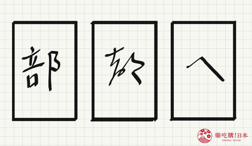 日语平假名「へ」源自於「部」的示意图