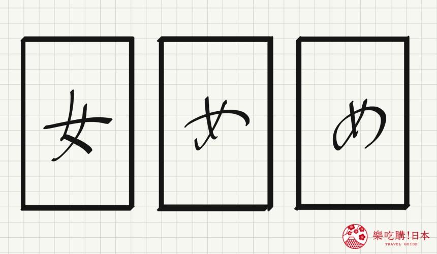日语平假名「め」源自於「女」的示意图