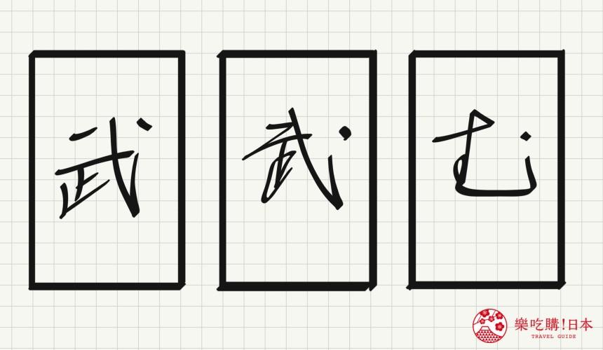 日语平假名「む」源自於「武」的示意图