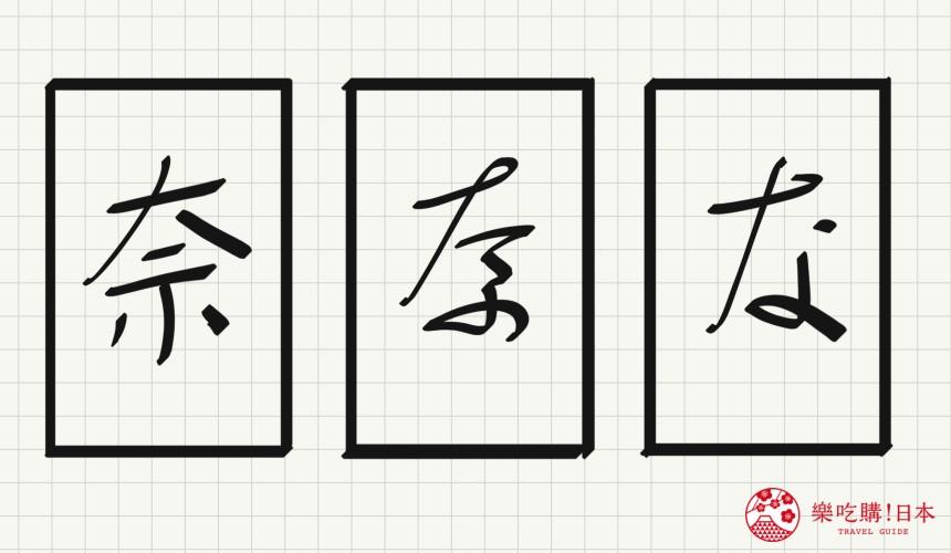 日语平假名「な」源自於「奈」的示意图