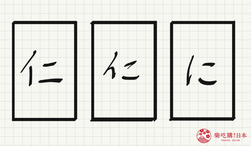 日语平假名「に」源自於「仁」的示意图