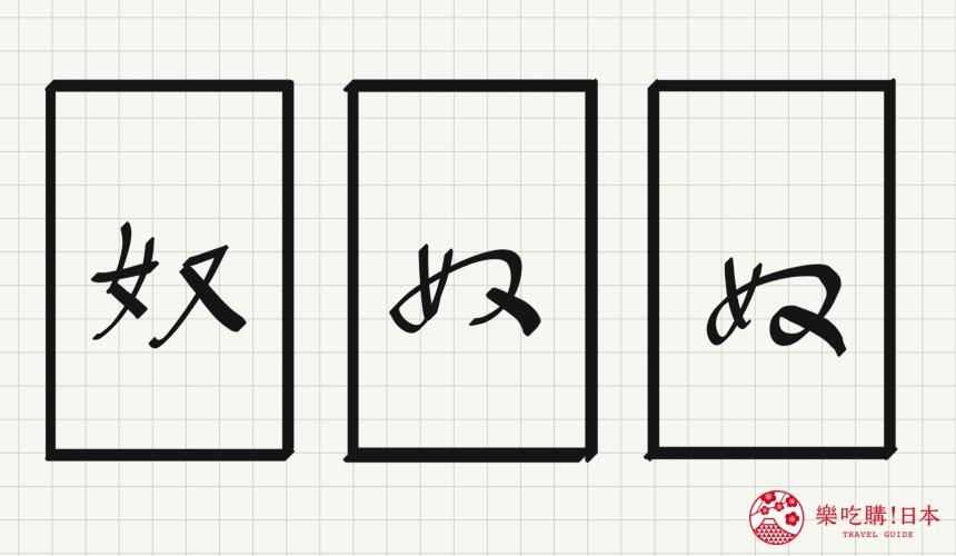 日语平假名「ぬ」源自於「奴」的示意图