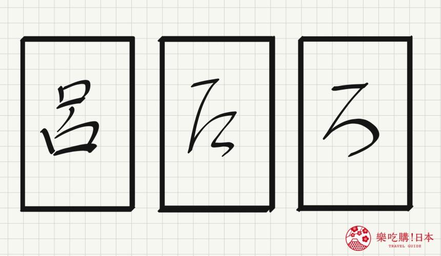 日语平假名「ろ」源自於「吕」的示意图