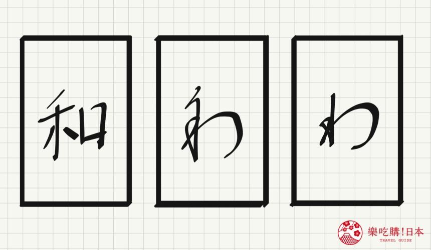 日语平假名「わ」源自於「和」的示意图