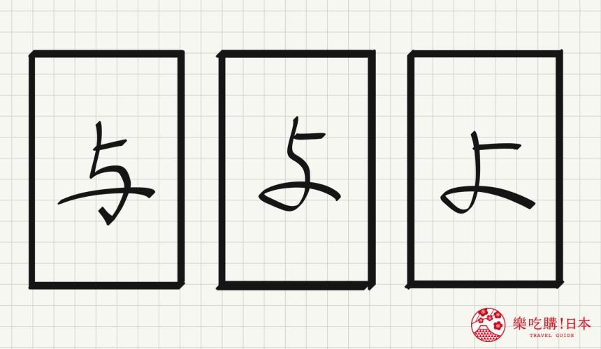 日语平假名「よ」源自於「与」的示意图