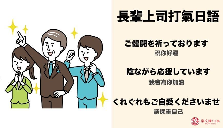 日文對長輩上司說加油「ご健闘を祈っております」、「陰ながら応援しています」、「くれぐれもご自愛くださいませ」示意圖