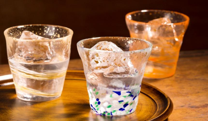 青森必買津輕琉璃夢幻玻璃杯冰華金彩大威士忌酒杯