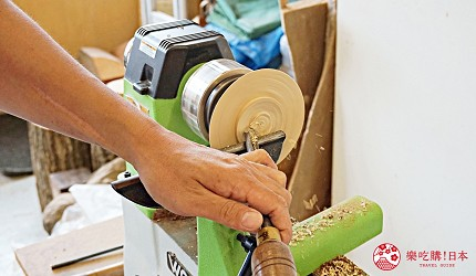 大阪自由行近郊一日遊行程推薦推介天王寺10分鐘直達松原市Nakajima 木工旋盤工坊工匠示範木製小缽的製作方法
