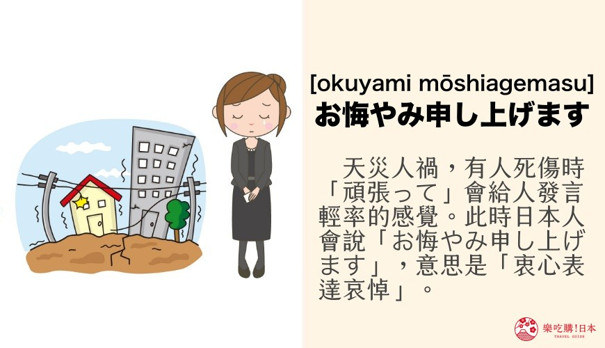 日文「お悔やみ申し上げます」讀音與意思「衷心表達哀悼」示意圖