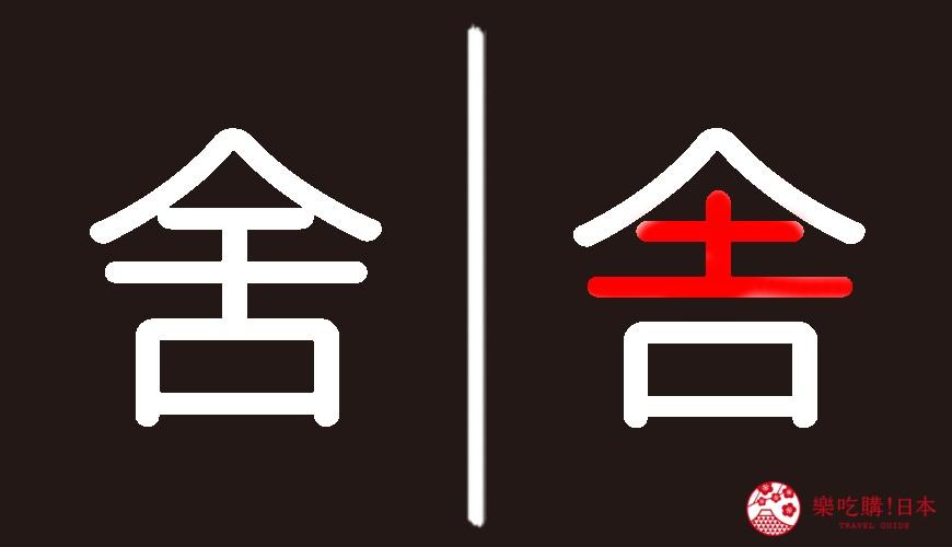 日文漢字「舎」與中文漢字「舍」寫法差異示意圖