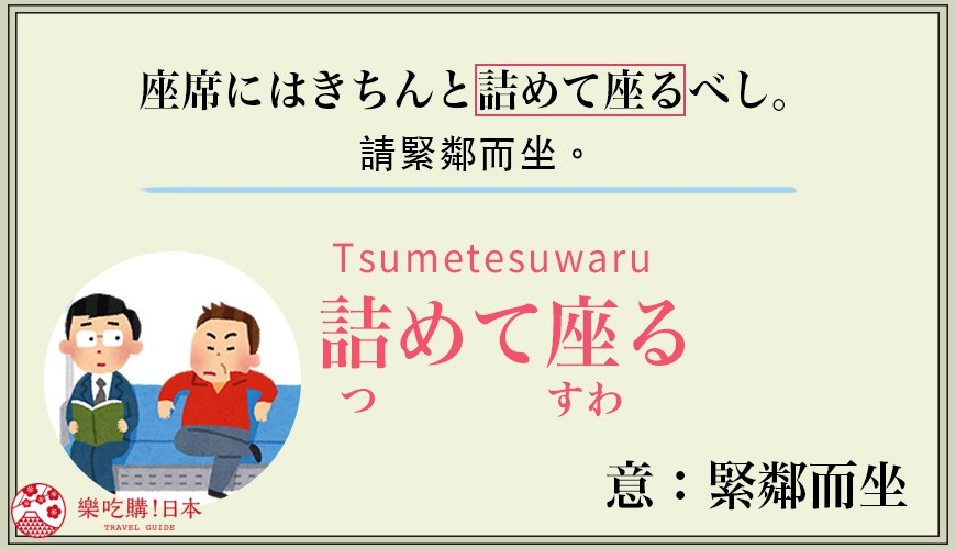 日本人搭乘電車惱人行為「詰めて座る」日語解析示意圖