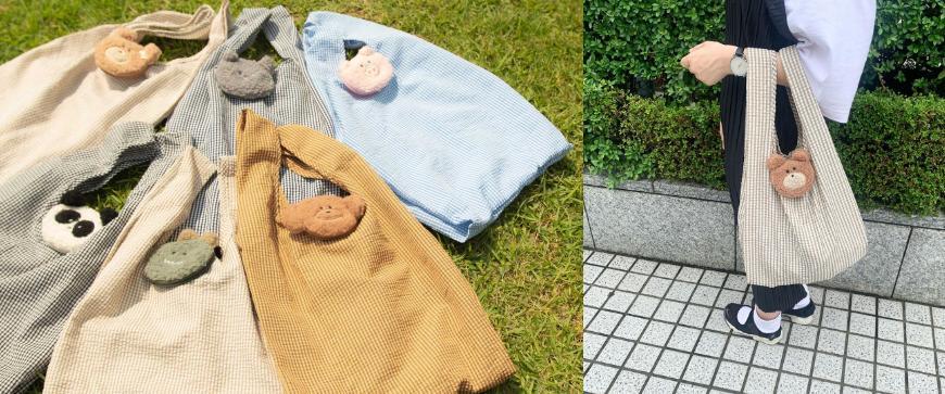 摺疊環保購物袋推薦推介日系動物設計超可愛立體剪裁容量大好收納動物系被放在草地上