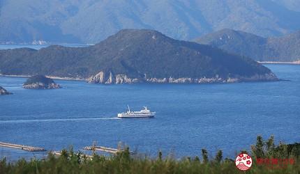 日本最美離島長崎五島360度無敵海景超療癒福江島2天1夜行程推薦推介鬼岳山頂遠望福江港一帶的渡輪群島