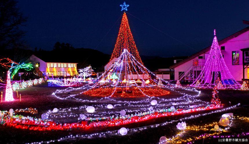 長野自由行松本安曇野景點推薦國營阿爾卑斯安曇野公園冬季點燈