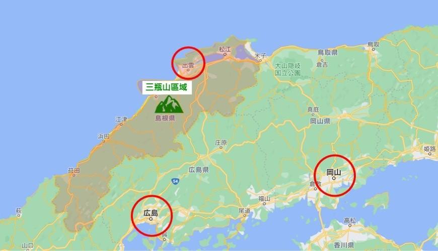 岛根景点推荐推介自驾游行程租车自由行绝景旅游三瓶山区域出云市地图