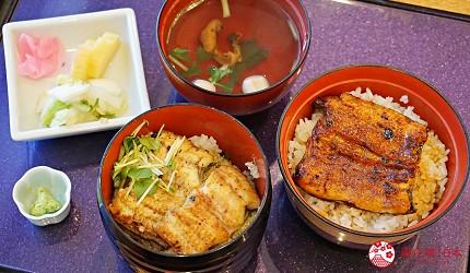 靜岡自由行景點推薦濱松市必吃鰻魚飯志ぶき白燒鰻魚蒲燒鰻兩色小丼
