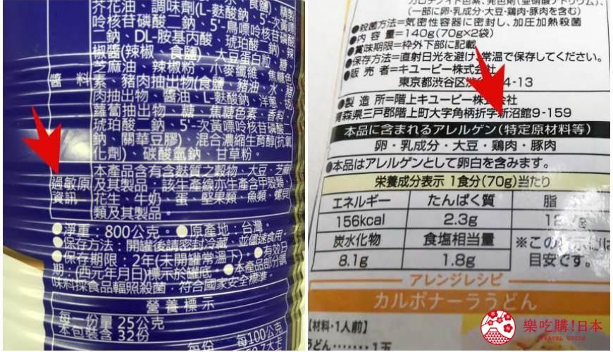 食物標籤營養標籤日本預先包裝進口食物安全標籤法規日文台灣敏感食物說明