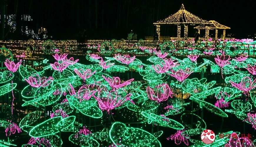 沖繩中部自駕沖繩市景點東南植物樂園冬季點燈燈飾蓮花池