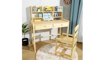 兒童書桌推薦成長書桌推介台灣製實木書桌高度選購指南文章邏爵 多層架大地實木成長桌椅組